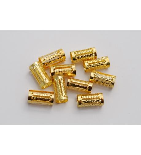 Obrączki Złote - Metalowe Koraliki Do Włosów 10 sztuk